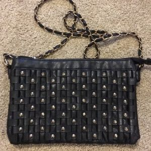 Forever 21 black crossbody purse with gold studs
